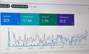 tela de computador onde se ve graficos de metricas de websites